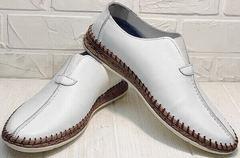 Мужские кожаные слипоны туфли летние business casual для мужчин Luciano Bellini 91724-S-304 All White.