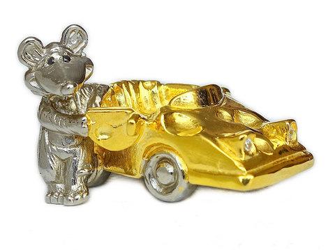 Позолоченная статуэтка «Мышь - водитель» 5х2,8см.