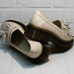 Осенние туфли лоферы на толстой подошве женские Markos S-6 Light Beige.