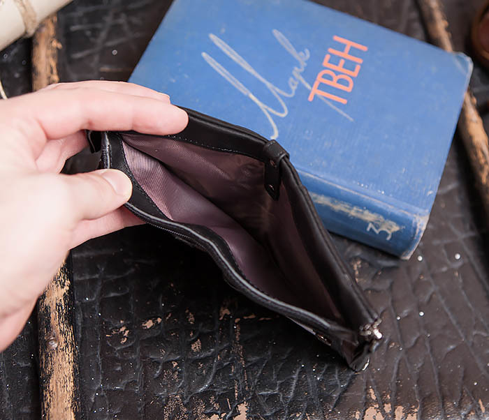WL250-1 Черный мужской кошелек с монетницей на молнии фото 07