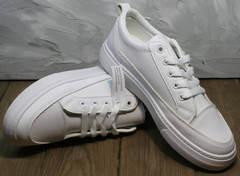 Кожаные женские кеды кроссовки для ходьбы El Passo 820 All White.