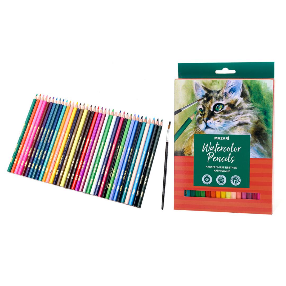 Карандаши цветные акварельные Mazari набор 36 цветов