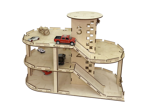 Деревянный детский конструктор гараж парковка автостоянка с лифтом и вертолётной площадкой, 60х30х44 см