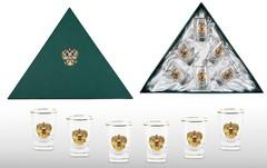 Набор водочных стопок «Золотой запас» с позолоченной накладкой, фото 1