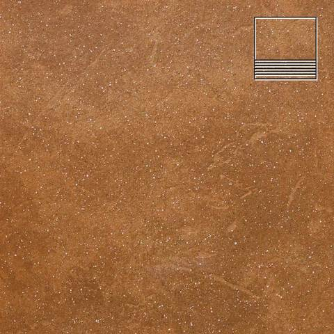 Stroeher - Keraplatte Roccia 839 ferro 300x294x10 артикул 8131 - Клинкерная ступень с насечками без угла