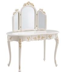 """Туалетный столик с зеркалом """"Шанталь (Shantal)"""" —  Белый (с золотом) (MK-5013-WG)"""