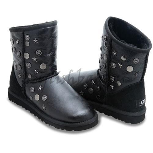 Женские угги UGG Jimmy Choo черные облитые