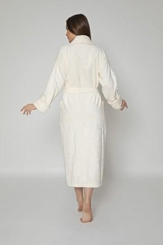 Халат женский махровый с капюшоном Artemida 8650 кремовый NUSA Турция