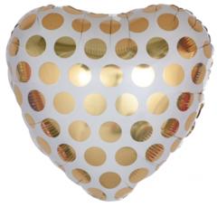 Сердце, Золотые точки, 18''/46 см, CTI, 1 шт.