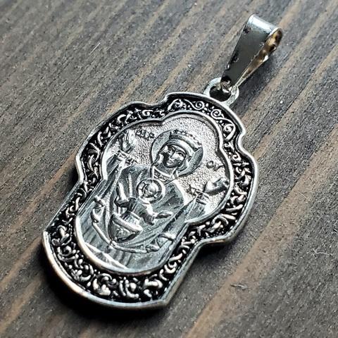 Нательная икона Божией Матери Неупиваемая Чаша с серебрением