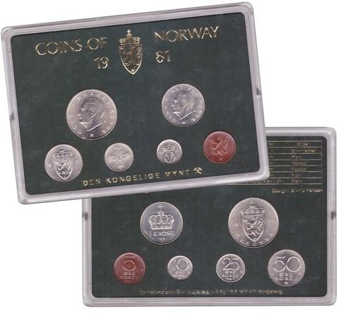 Набор монет Норвегии 1981 UNC в пластиковой упаковке