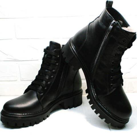 Черные ботинки женские кожаные. Зимние ботинки с мехом. Грубые ботинки мартинсы Frenzony-BLF.