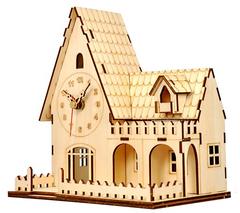 Деревянные часы-конструктор/ раскраска/ набор для творчества/ Домик с полисадником