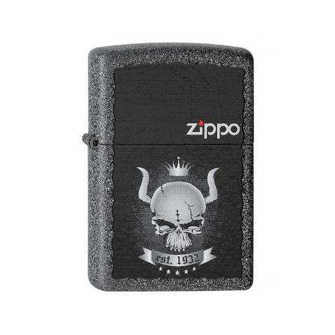 Зажигалка Zippo Skull Crown, латунь с покрытием Iron Stone Matte, серый, матовая, 36х12x56 мм