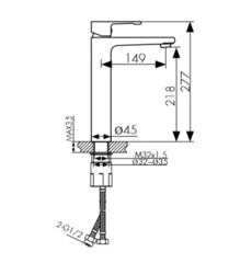 Смеситель KAISER Elite 01111 хром и 01111-2 черный матовый высокий для раковины схема