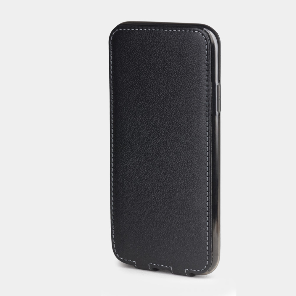 Чехол для iPhone XR из натуральной кожи теленка, черного цвета