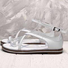 Модные босоножки с ремешком на щиколотке Evromoda 454-402 White.