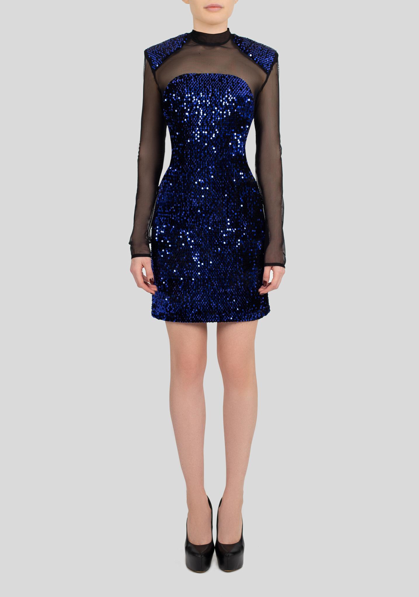 Платье синее мини с пайетками и сеткой