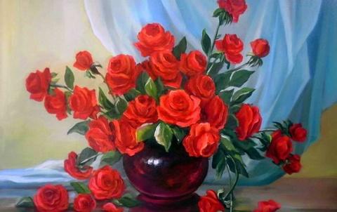 Картина раскраска по номерам 30x40 Красные розы в темной круглой вазе