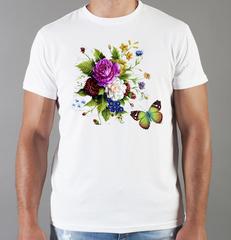 Футболка с принтом Цветы (Пионы) белая 0013