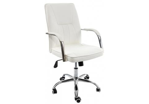 Офисное кресло для персонала и руководителя Компьютерное Nadir белое 57*57*93 Хромированный металл /Белый
