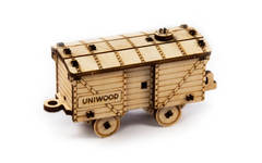 Вагончик товарный UNIT (UNIWOOD) - Миниатюрный деревянный конструктор, 3D пазл, сборная модель