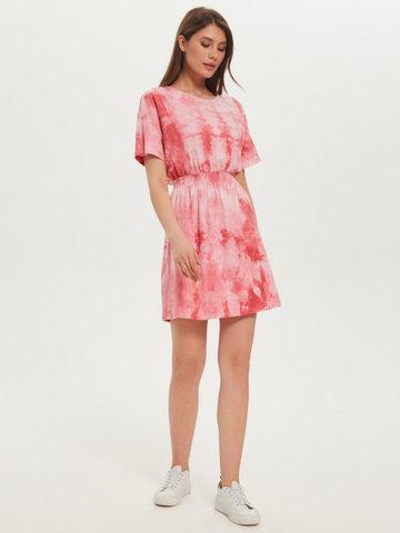 BM Платье пояс-резинка Тай-дай Розов/Бел