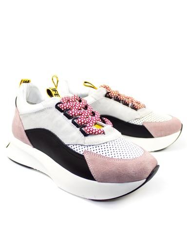 черно-розовые кроссовки Mario Muzi