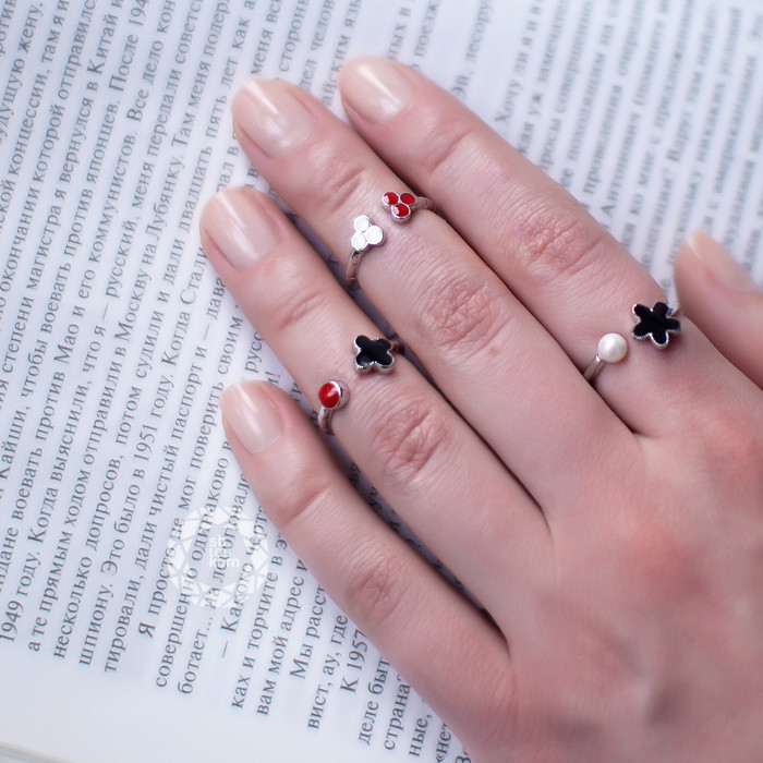 Разъемное серебряное кольцо с иск. жемчугом и черной эмалью