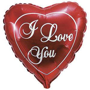 Фольгированный шар Я тебя люблю красное 18