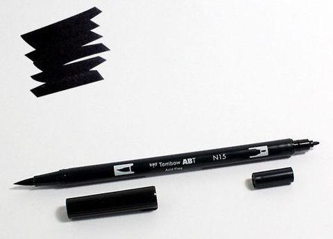 Маркер-кисть Tombow ABT Dual Brush Pen-N15, черный