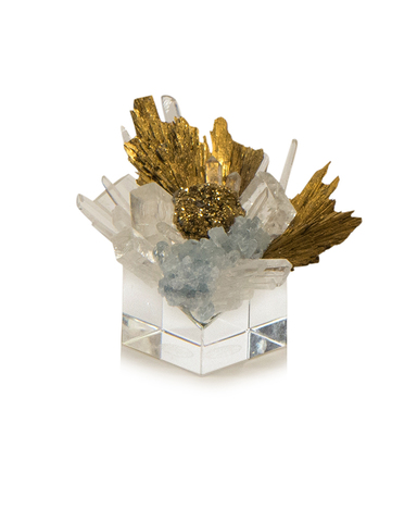 Stone Cluster in Clear, Yellow Quartz, and Gold