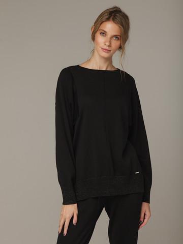 Черный джемпер из шёлка и кашемира, с квадратной линией проймы - фото 2