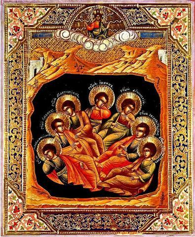 Икона Семь спящих отроков Эфесских на дереве на левкасе мастерская Иконный Дом