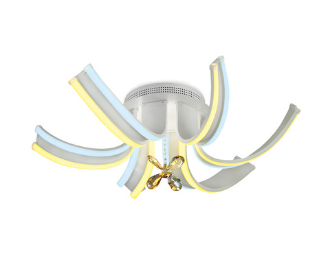 Потолочный светодиодный светильник с пультом FL146/6 WH белый 84W 3000K/6400K 620*620*170 (ПДУ РАДИО 2.4)