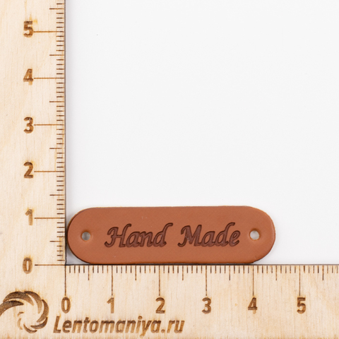 "Бирка пришивная из экокожи ""Hand Made"" N41 (3 шт.) 45*8мм"