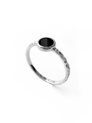 Серебряное узкое кольцо с агатом