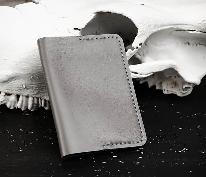 WB173-3 Кожаная обложка для документов, ручной шов фото 02