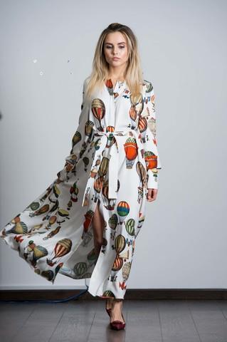 Длинное платье - рубашка с поясом.