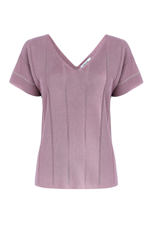 Женская футболка светло-розового цвета из вискозы - фото 1