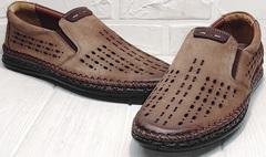 Коричневые мокасины мужские туфли с перфорацией бизнес кэжуал для мужчин Luciano Bellini 91737-S-307 Coffee.