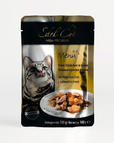 купить Edel Cat Delicate chunks in jelly Chicken, Duck пауч для взрослых кошек с курицей и уткой 100 гр