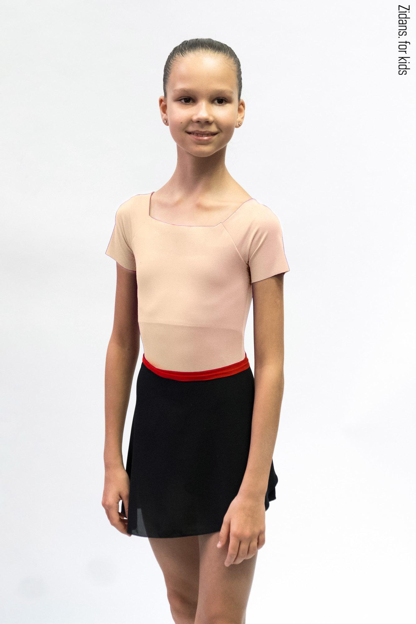 Детский комплект: купальник Футболка бежевый + юбка