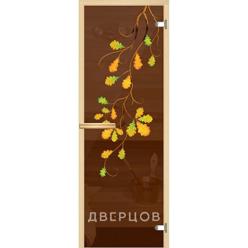 Двери для бани и сауны Дверь для сауны бронзовая с рисунком Ветка дуба ручка магнит Ветка_дуба.jpg