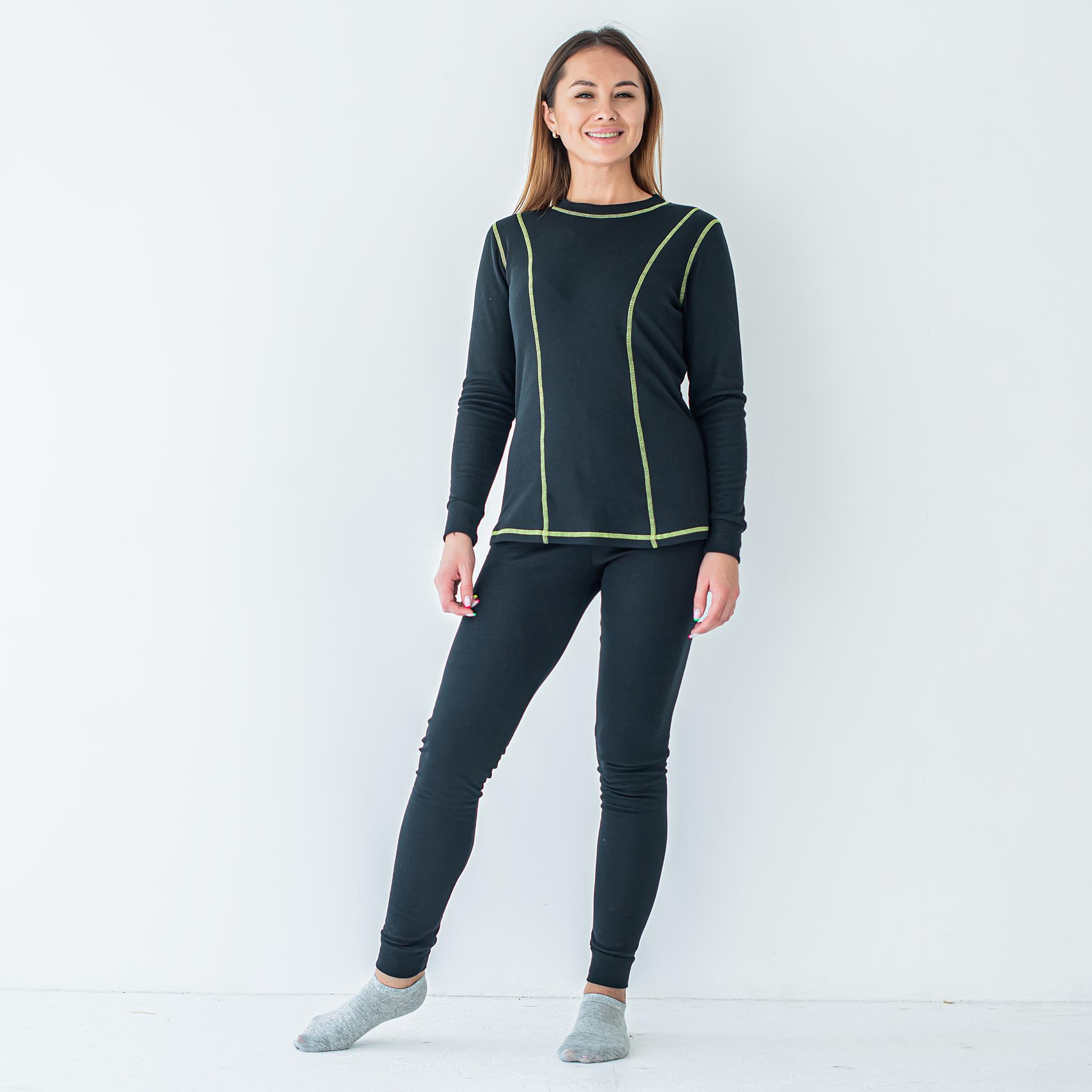 Термобелье женское черное с ярко-зеленой строчкой