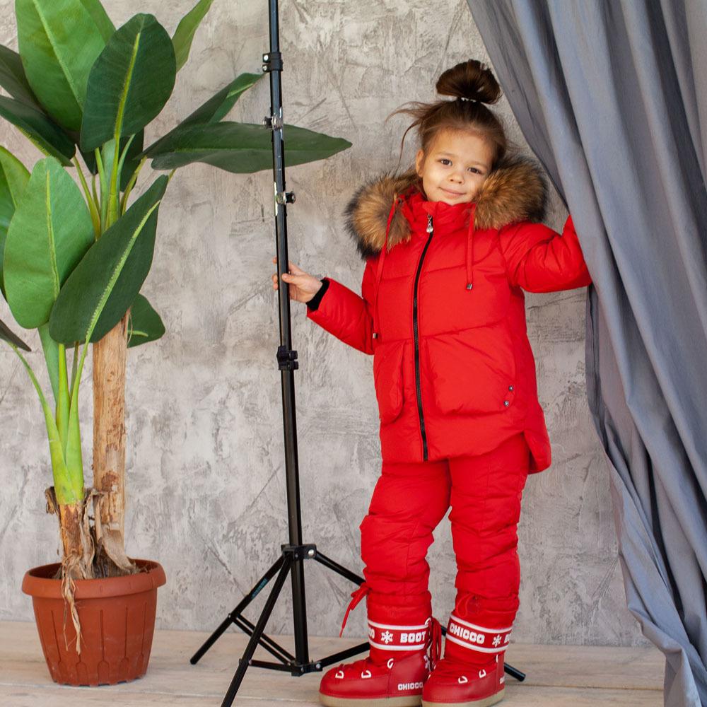 Дитячий зимовий костюм червоного кольору з водовідштовхувальним плащової тканини