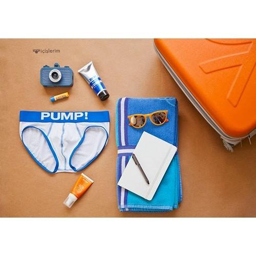 Мужские трусы брифы в сеточку с голубой резинкой Pump Touchdown Brief White 26078