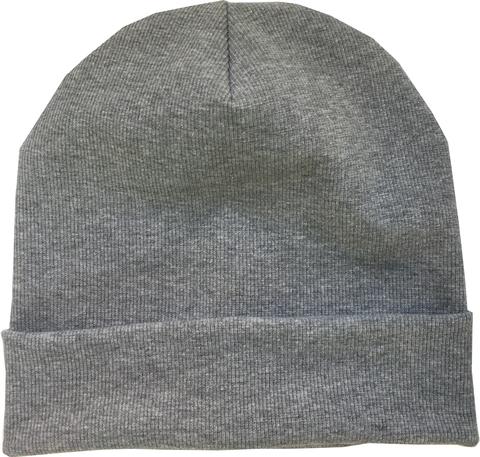 Хлопковая шапочка в рубчик цвет серый меланж