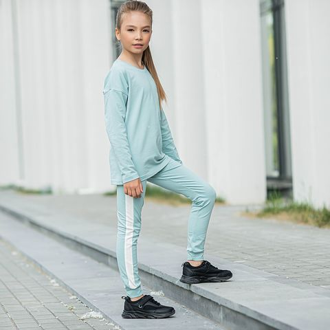 Leggings with stripes for teens - Sea Blue