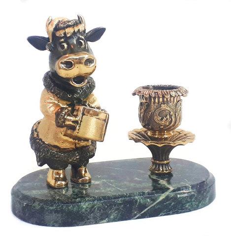 Бронзовый подсвечник «Корова Буренка» - Символ 2021 года. Бронза, 13см